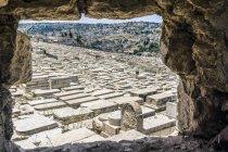 Israel, Jerusalem, Blick vom Mount Olivet über jüdische Friedhof — Stockfoto