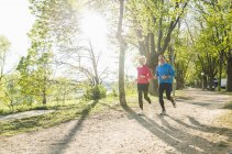 Germany, Mannheim, Mature couple jogging in park — Stock Photo