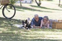 Rire couple âgé couché avec chien sur la couverture sur une prairie — Photo de stock