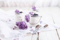 Organic blueberry dessert with blueberries, honey and greek yogurt in tiny glasses — Stock Photo