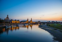 Germany, Dresden downtown cityscape view illuminated at night time — Stock Photo