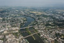 Germany, Rhineland-Palatinate, aerial view of Koblenz with Moselle River — Stock Photo
