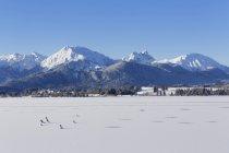 Montañas de Alemania, Baviera, vista del lago Hopfensee y Tannheim sobre fondo - foto de stock
