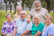 Portrait of senior citizens at reunion meeting — Stock Photo