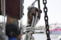 Detail view of a rope of a sailing ship — Stock Photo