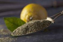 Primo piano di cucchiaio d'ottone di pepe di limone asciugato con limone e foglie su tessuto nero — Foto stock
