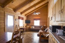 Interior of rustic log home cabin — Stock Photo