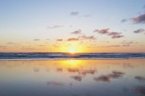 Nuova Zelanda, paesaggio marino a Piha Beach al tramonto — Foto stock