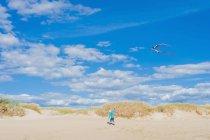 Dinamarca, Romo, Boy volando cometa en el Mar del Norte - foto de stock