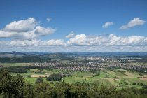Germany, Baden Wuerttemberg, View of Hegau landscape, Hohenhewen, Hohentwiel and Hohenkraehen, from left — Stock Photo