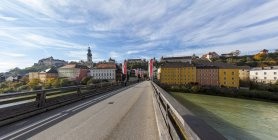 Germany, Bavaria, Landshut, View of the old town and bridge on foreground — Stock Photo