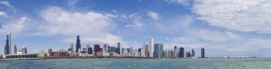 США, штат Іллінойс, Чикаго, вид акваріума Шедда та Уілліс вежа в озері Мічиган — стокове фото