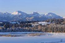 Германия, Бавария, Форгензее и Форгензее озер на рассвете — стоковое фото