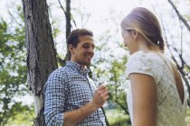 Happy couple in love in nature — Stock Photo