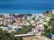 Карибського басейну, Сент-Люсія, пташиного польоту Канарських островах з церквою Святого Антонія — стокове фото