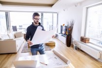 Architect working from home — Stock Photo