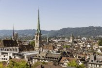 Switzerland, Zurich, aerial cityscape view with Frauenmuenster in sunny day — Stock Photo