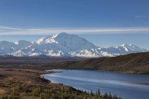 Мак-Кінлі і відображенням дивно озеро в Denali National Park, Аляска, США — стокове фото