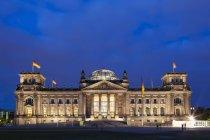 Germania, Berlino, cupola del Reichstag di notte — Foto stock