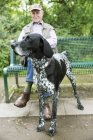 Senior man sitting on park bench with his German Shorthaired Pointer in the foreground — Stock Photo
