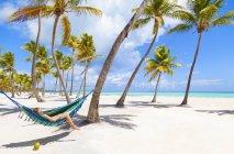 Dominikanische Rebellion, junge Frau liegt in Hängematte am tropischen Strand — Stockfoto