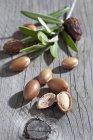 Noci di Argan e foglie sulla tavola di legno grigio — Foto stock