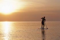 Silhouette of man rowing on paddle board in sea at sunset — Stock Photo