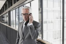 Senior businessman on cell phone — Stock Photo