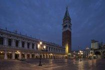 Italy, Venice, St Marks Square at night — Stock Photo