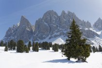 Italy, Alto Adige, Villnoess Valley, Geisler Alm below Sass Rigais and rocks over snow — Stock Photo