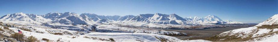 Monte Mckinley y la gama de Alaska en el Parque Nacional de Denali, Alaska, Estados Unidos - foto de stock