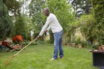 Black man raking on meadow in the garden — Stock Photo