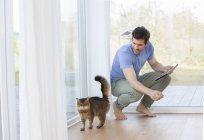 Человек с цифровым планшетом смотрит на кота — стоковое фото