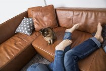 Пара лежащих на полу, ноги на диване, кошки смотрят — стоковое фото