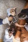 Family using digital tablet in living room — Stock Photo