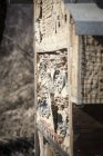 Close up of bee hotel and bees in air — Stock Photo