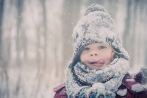 Portrait of Boy in snow at winter — Stock Photo