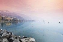 Suiza, Waadt, Montreux, lago de Ginebra en la noche - foto de stock