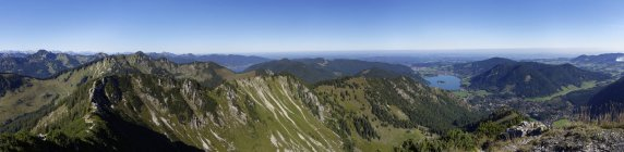 Germany, Upper Bavaria, Panoramic view from Brecherspitz over Mangfall Mountains — Stock Photo