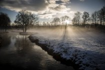 Germany, Bavaria, Landshut, winter landscape with morning sun — Stock Photo