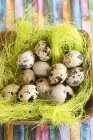 Wooden bowl with Easter grass and quail eggs on colorful striped surface — Stock Photo