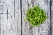 Vidro de agrião de jardim na mesa de madeira cinza, vista superior — Fotografia de Stock
