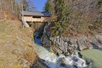 Austria, Vorarlberg, Bregenz Forest, Hittisau, over Bolgenach river — стоковое фото