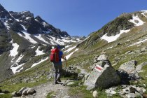Austria, Vorarlberg, Woman hiking at Grafierjoch and Schafberg — Stock Photo