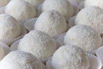 Primo piano della pasticceria di palle di neve in fiocchi di cocco — Foto stock