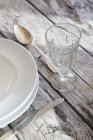 Close-up of Place setting on festive laid wooden table — Stock Photo