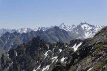 Austria, Vorarlberg, View from Antonier Joch towards Montafon, Sivretta group and Ratikon — Stock Photo