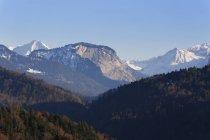 Austria, Vorarlberg, Bregenz Forest, Mountains Uentschenspitze, Mittagsfluh and Juppenspitze — Stock Photo
