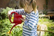 Little girl watering plants in the garden — Stock Photo