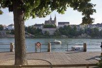 View of Basel Munster across Rhine River, Basel, Switzerland — Stock Photo